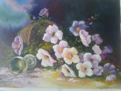 Picturi cu flori cos cu flori rasturnat