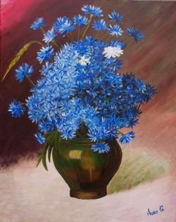 Picturi cu flori Albastrele in vaza