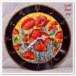 Picturi cu flori Ceas perete cu maci 1