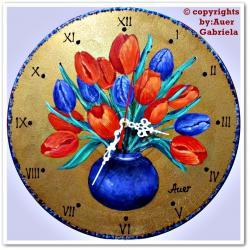 Picturi cu flori Ceas perete pictat 15