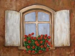 Picturi cu flori Fereastra cu muscate