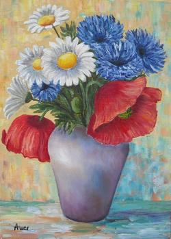 Picturi cu flori Flori de camp in vaza -