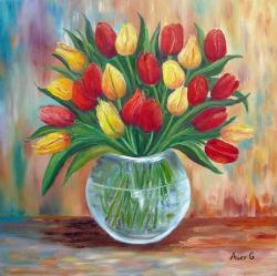 Picturi cu flori Lalele in vas