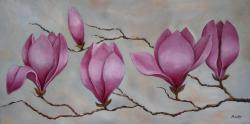 Picturi cu flori magnolii roz