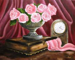 Picturi cu flori Natura moarta cu trandafiri