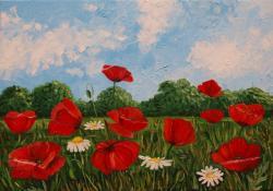 Picturi cu flori peisaj cu maci