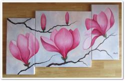Picturi cu flori Triptic cu magnolii