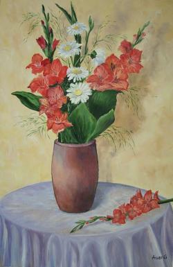 Picturi cu flori Vaza cu gladiole
