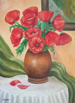 Picturi cu flori Vaza cu maci -