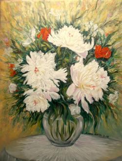 Picturi cu flori Bujorul Alb