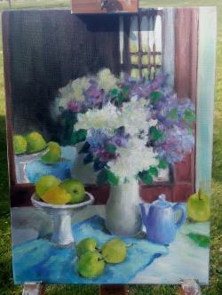 Picturi cu flori Liliac la fereastra