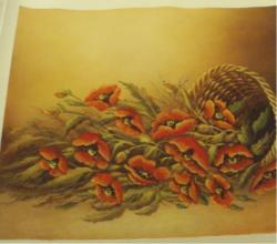 Picturi cu flori Cos cu maci rosii
