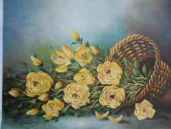 Picturi cu flori Cos cu trandafiri galbeni