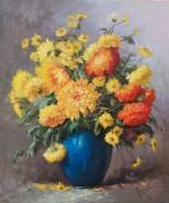 Picturi cu flori Buchet de flori in vaza albastra