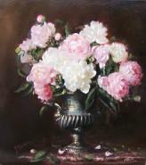 Picturi cu flori Bujori in vas de bronz