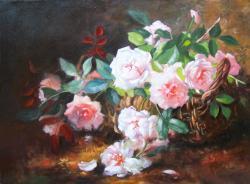 Picturi cu flori Cos cu trandafiri a