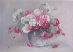 Picturi cu flori Garoafe in vas de sticla