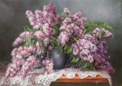 Picturi cu flori Liliac in vaza 2