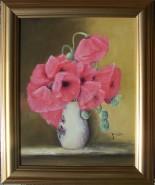 Picturi cu flori Maci in vas de portelan