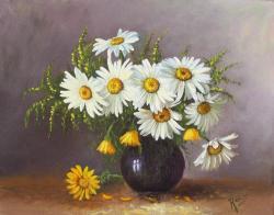Picturi cu flori margarete in vas  violet inchis