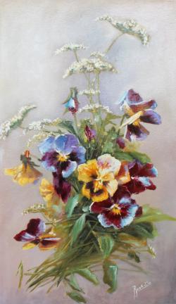 Picturi cu flori Panselute 5
