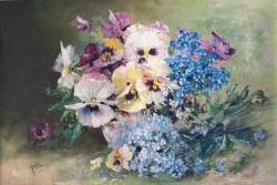 Picturi cu flori Panselute si albastrele
