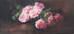 Picturi cu flori Trandafiri roz pe masa