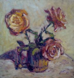 Picturi cu flori trandafiri in cana
