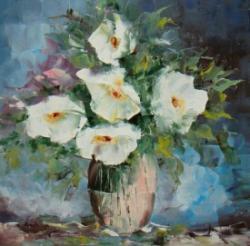Picturi cu flori Albi in vas.