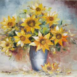 Picturi cu flori Floarea soarelui in vas.