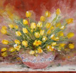 Picturi cu flori Lalele galbene.