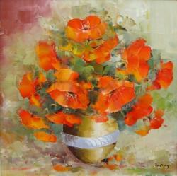 Picturi cu flori Maci clasici in vas.