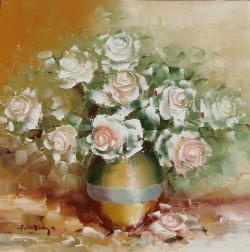 Picturi cu flori Trandafiri alb in vas.