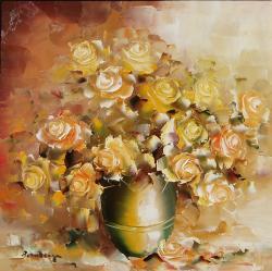 Picturi cu flori Trandafiri galbeni.