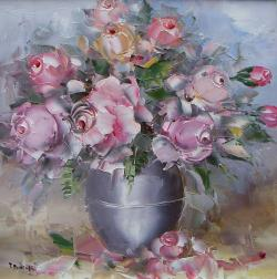 Picturi cu flori Trandafiri roz.