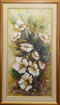 Picturi cu flori Flori albe in relief