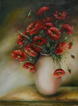 Picturi cu flori Maci in glastra alba