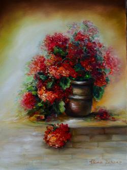 Picturi cu flori Muscate pe pervaz