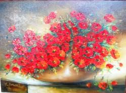 Picturi cu flori Simfonie in rosu
