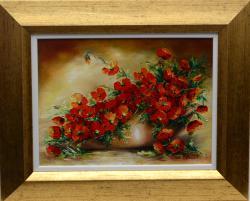 Picturi cu flori Simfonie in rosu mic
