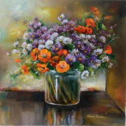 Picturi cu flori vas cu flori de toamna