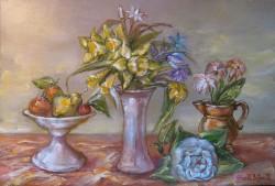 Picturi cu flori Natura statica cu flori de primavara