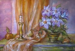 Picturi cu flori Natura statica cu sfesnic