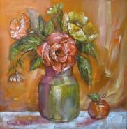 Picturi cu flori Natura statica cu trandafir