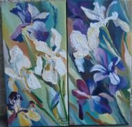 Picturi cu flori Diptic irisi