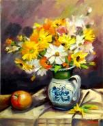 Picturi cu flori Flori de camp in vas si mar