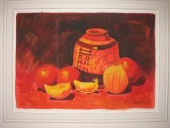Picturi cu flori Natura statica cu portocale si vas