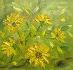 Picturi cu flori galben in soare