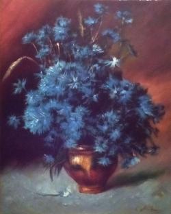 Picturi cu flori ALBASTRELE 01