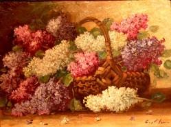 Picturi cu flori Cos cu liliac